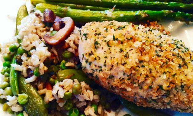 Lemony Snow Peas & Mushrooms With Brown Rice