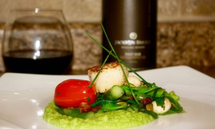 Seared Scallops With Spring Vegetables And Truffled Pea Puree